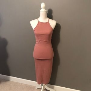 Blush, Ribbed, Racerback Midi Dress